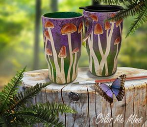Sandy Mushroom Mugs