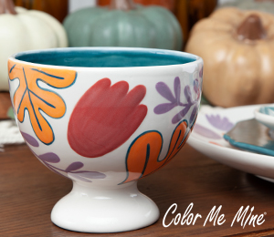 Sandy Floral Pedestal Bowl
