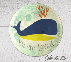 Sandy Whale Love Plate