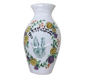 Sandy Floral Handprint Vase